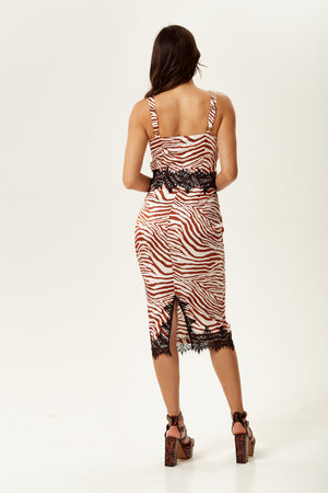 Liquorish Fitted Midi Dress With Lace Detail In Brown Zebra Print