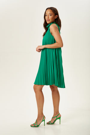 Divine Grace Green Pleated Mini Dress with Neck Tie