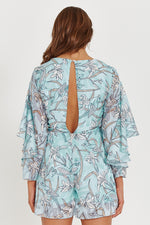 Liquorish Floral Light Blue Playsuit With Open Back