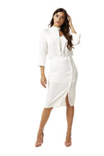 Liquorish Choker White Midi Dress