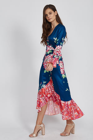 Liquorish Midi Wrap Tea Dress in Floral Print