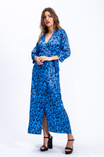 Liquorish Maxi Wrap dress in Blue Leopard Print With 3/4 Length Sleeve