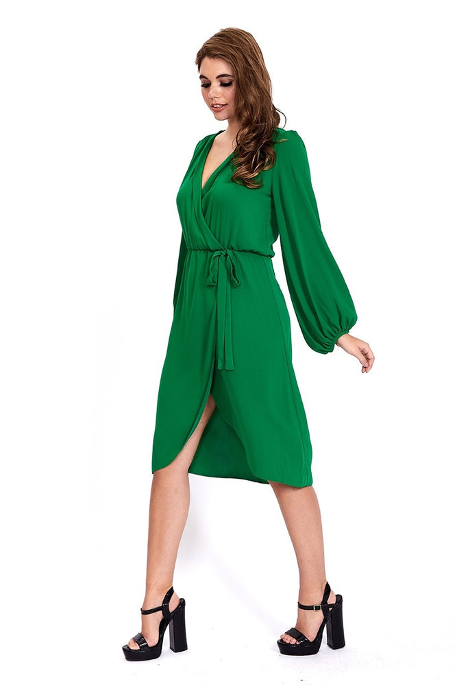 Liquorish Green Wrap Midi Dress With Bell Sleeves