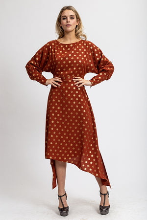 Liquorish Asymmetric Midi Dress in Gold Polka Dot Print