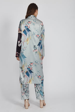 Liquorish Longline Kimono in Bird Print Co-Ord