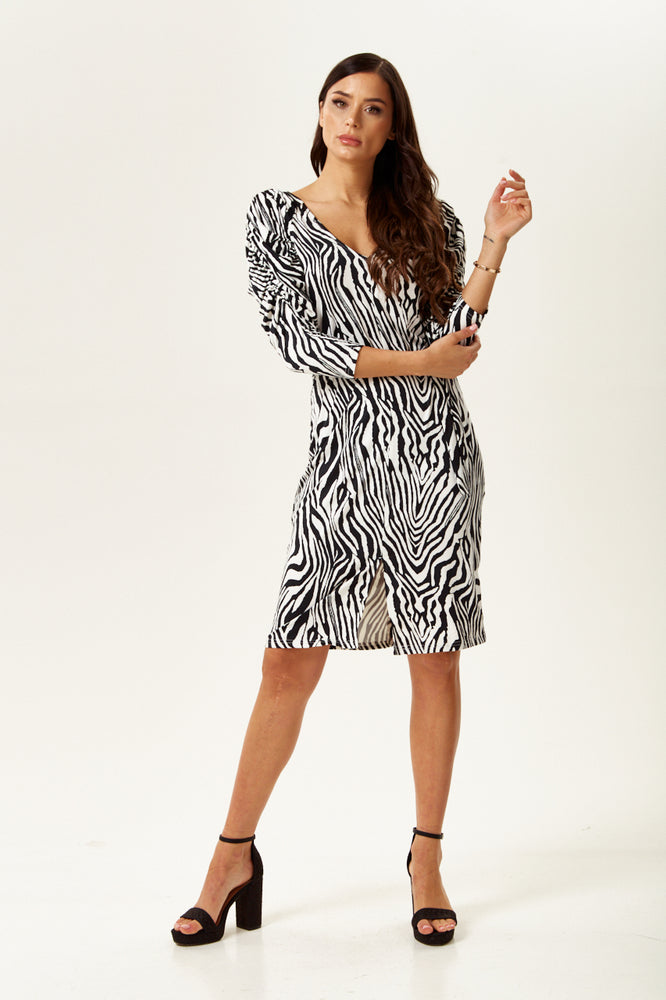 Divine Grace Black And White Zebra Print Mini Dress with Belt And Ruched Sleeves