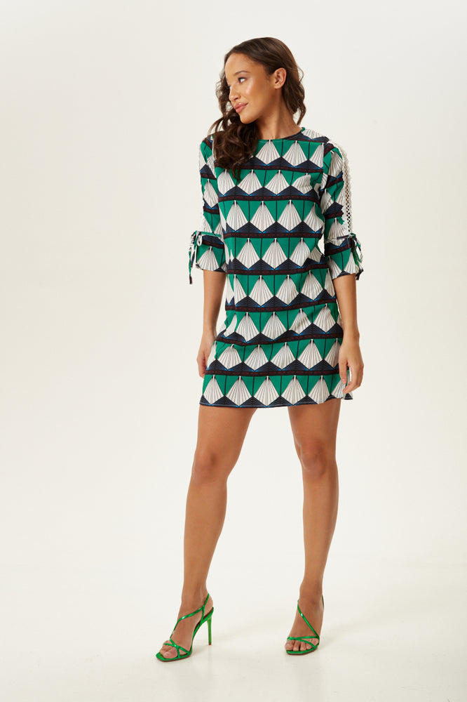 Divine Grace Geometric Print Midi Dress