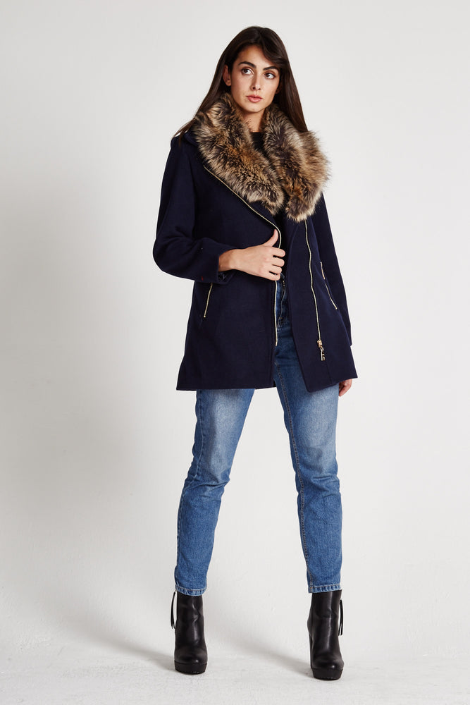 Liquorish Navy Faux Fur Collar Mid Length Coat