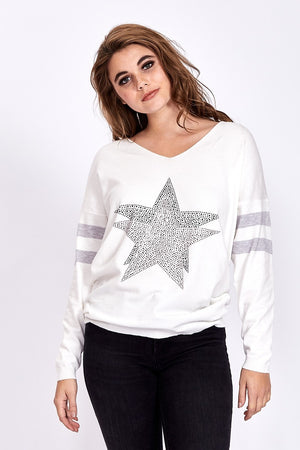 Divine Grace White Jumper With Sparkly Star & Stripes