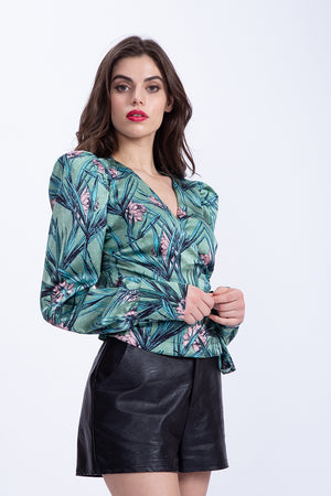 Liquorish Wrap Top In Green Floral Print