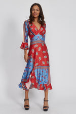 Liquorish wrap front midaxi dress in floral scarf print