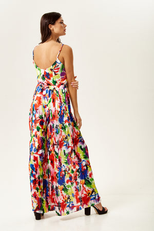 Liquorish Pleated Wide Leg Trousers In Abstract Floral Print