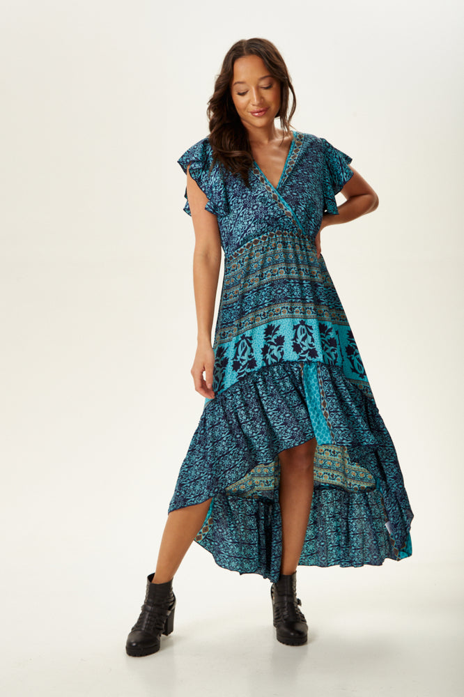 Divine Grace Blue Printed Midi Silk Dress