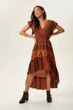 Divine Grace Tuscany Printed Midi Silk Dress