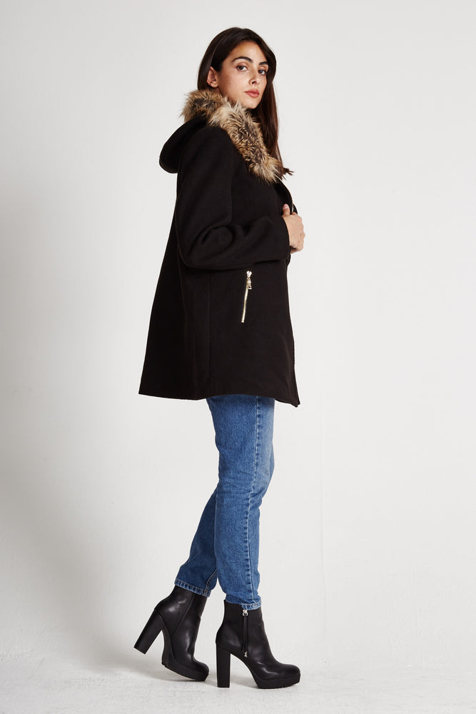 Liquorish Black Mid Length Coat