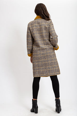 Liquorish Checked Coat with Mustard Faux Fur Trim