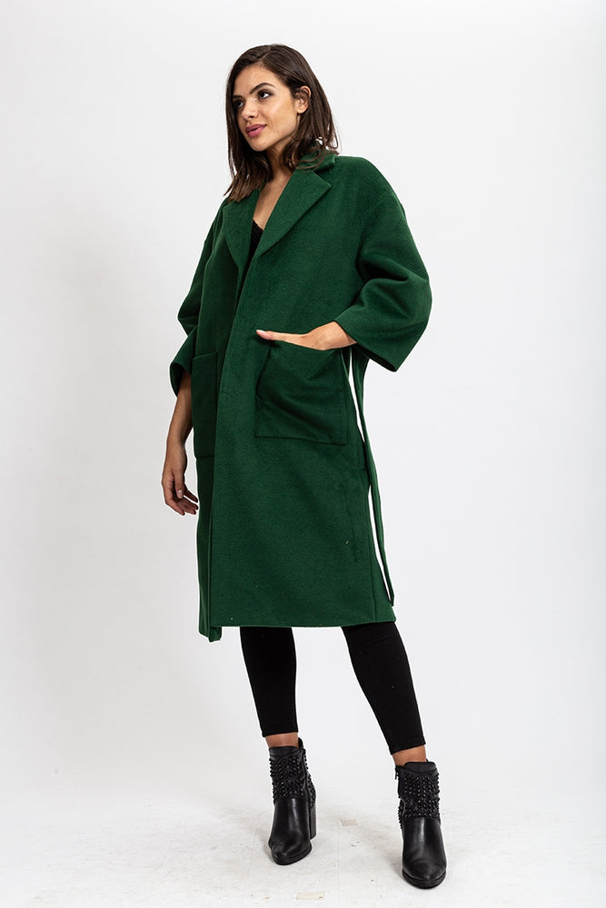 Liquorish Green Coat with Two Pocket and Belt