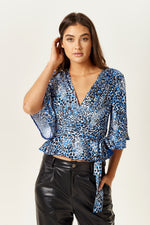 Blue Animal Print Top with Tie Waist