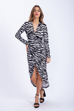 Divine Grace Midi Dress in Black And White Zebra Animal Print