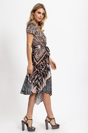 Liquorish Short Sleeve Midi Dress in Mixed Animal Print