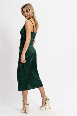 Liquorish Cowl Neck Cami Midi Dress in Forest Green