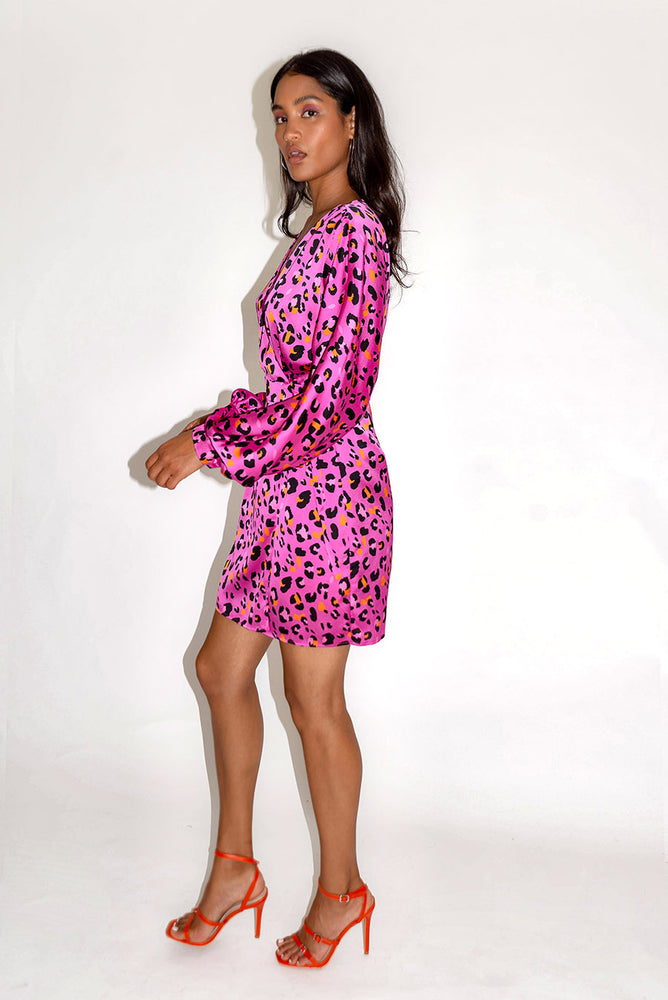 Liquorish Fucshia Animal Print Mini Wrap Dress with Bat Sleeves