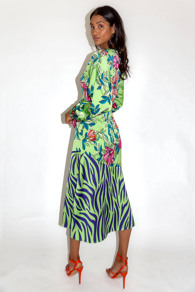 Liquorish Green Midi Dress in Floral and Animal Contrast Print