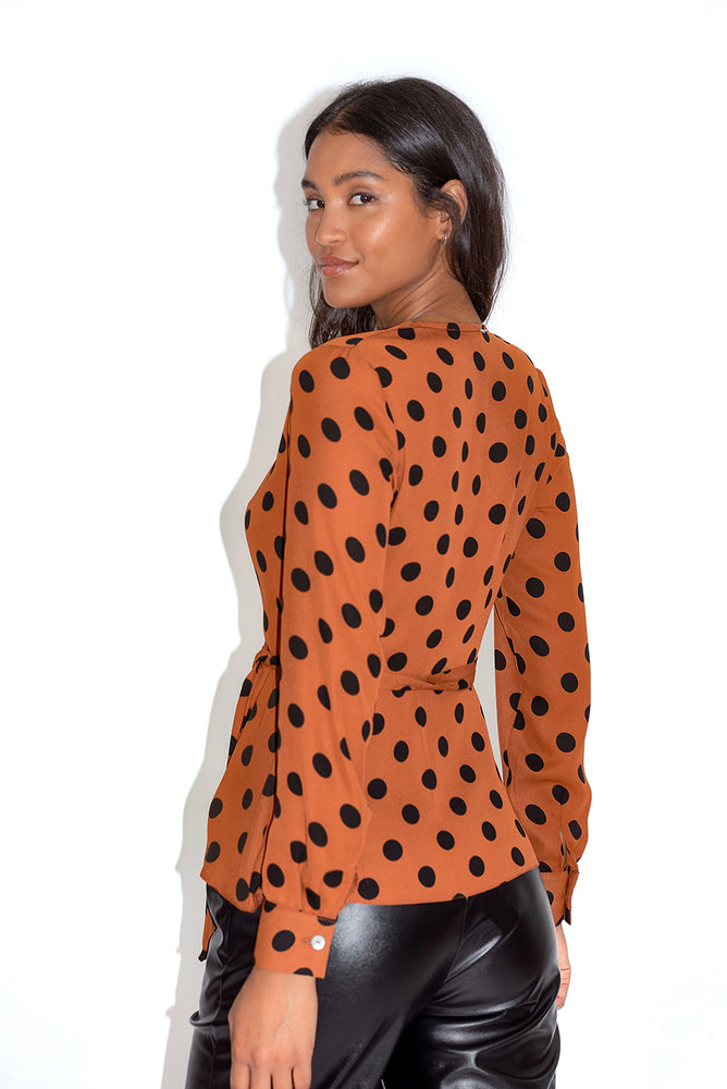 Liquorish Tuscany Polka Dot Wrap Top