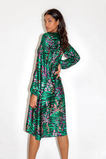 Liquorish Leopard and Zebra Print Midi Dress in Green Base