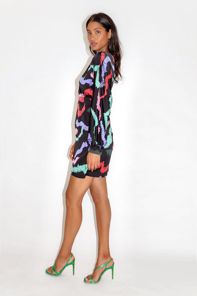 Liquorish Abstract Print Mini Dress in Black Base with Bat Sleeves