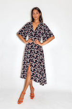 Liquorish Geometrical Print Wrap Dress with Kimono Sleeves