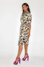 Liquorish Floral Print Midi Shirt Dress