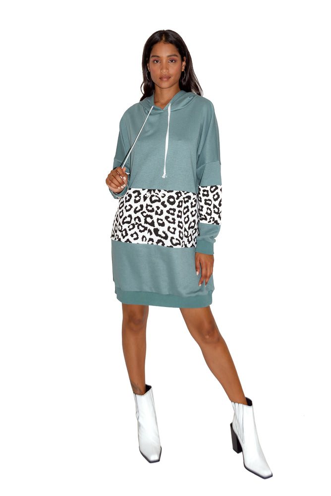 Liquorish Oversized Loungewear Hoodie Dress in Sage and Leopard Print