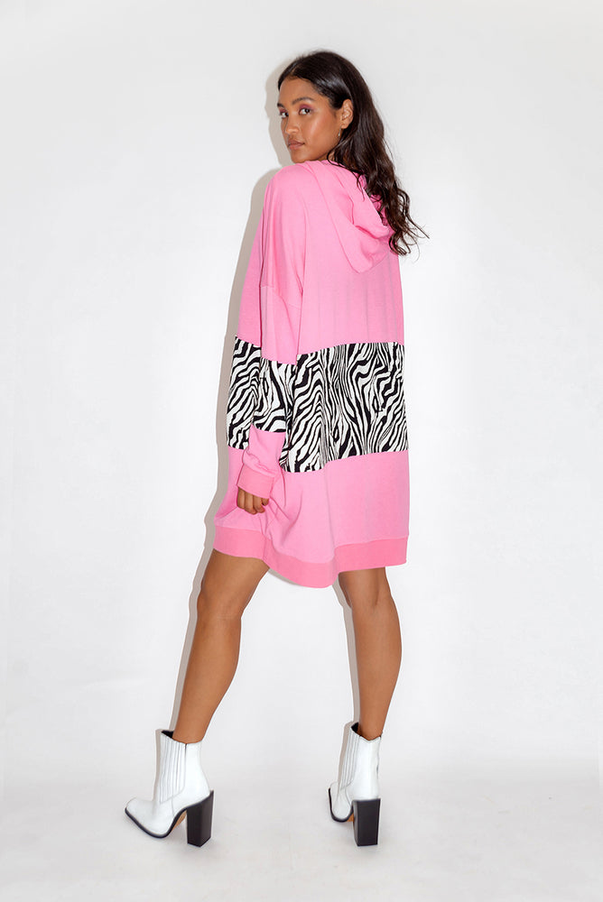 Liquorish Oversized Loungewear Hoodie Dress in Fuchsia and Zebra Print