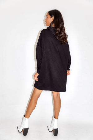 Liquorish Star Print Oversized Loungewear Hoodie Dress in Black