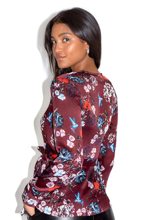 Liquorish Burgundy Floral Wrap Top