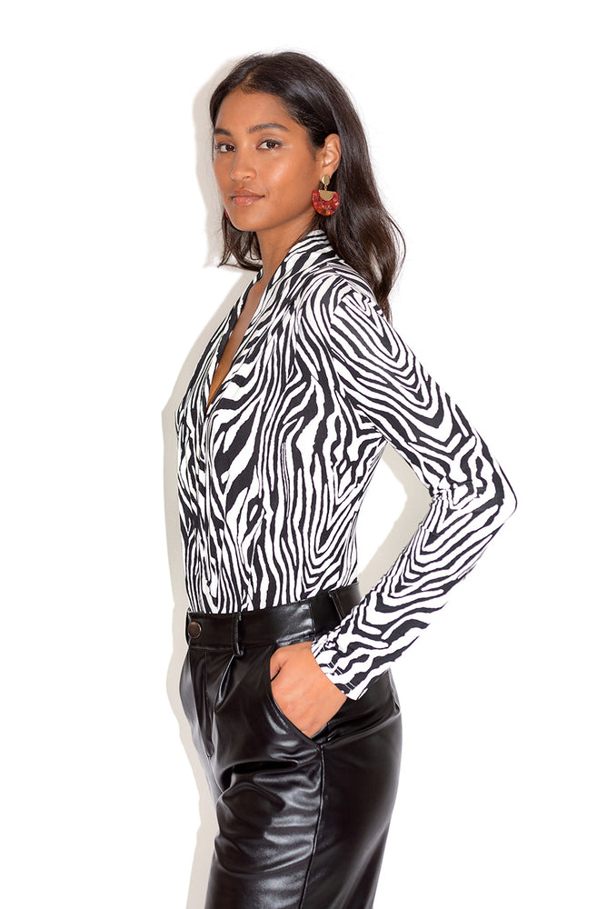 Liquorish Black & White Zebra Print Bodysuit