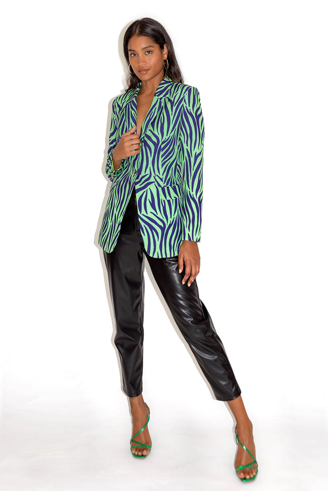 Liquorish Blue and Mint Zebra Print Blazer