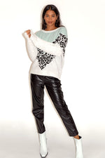 Liquorish Mint & White & Animal Layered Jumper
