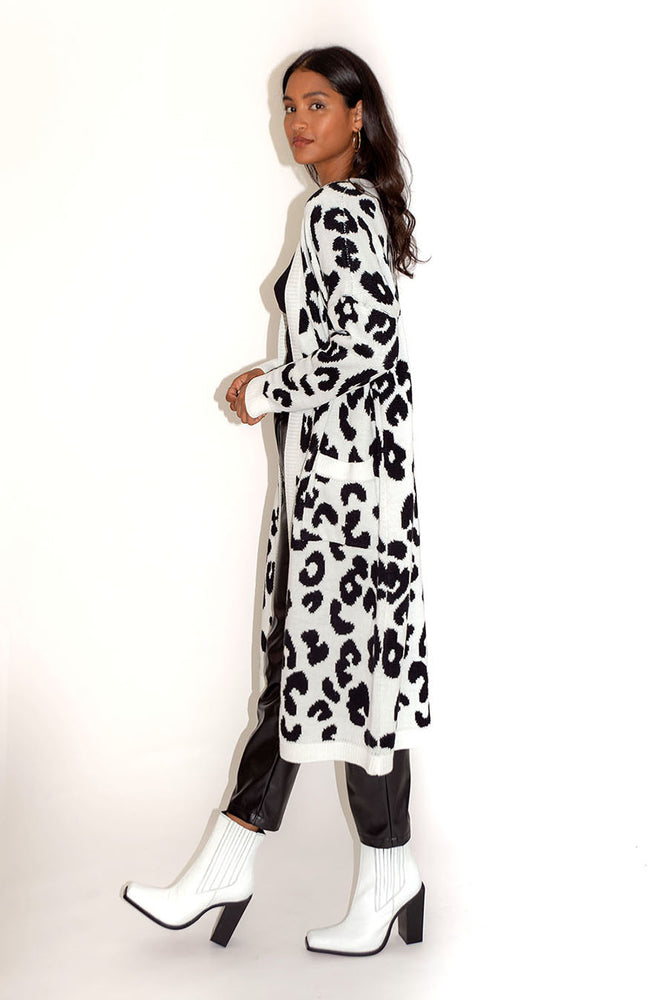 Liquorish Leopard Maxi Long Cardigan with Pockets