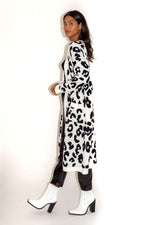 Liquorish Leopard Long Cardigan with Pockets