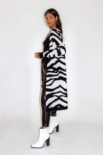 Liquorish Zebra Maxi Long Cardigan with Pockets