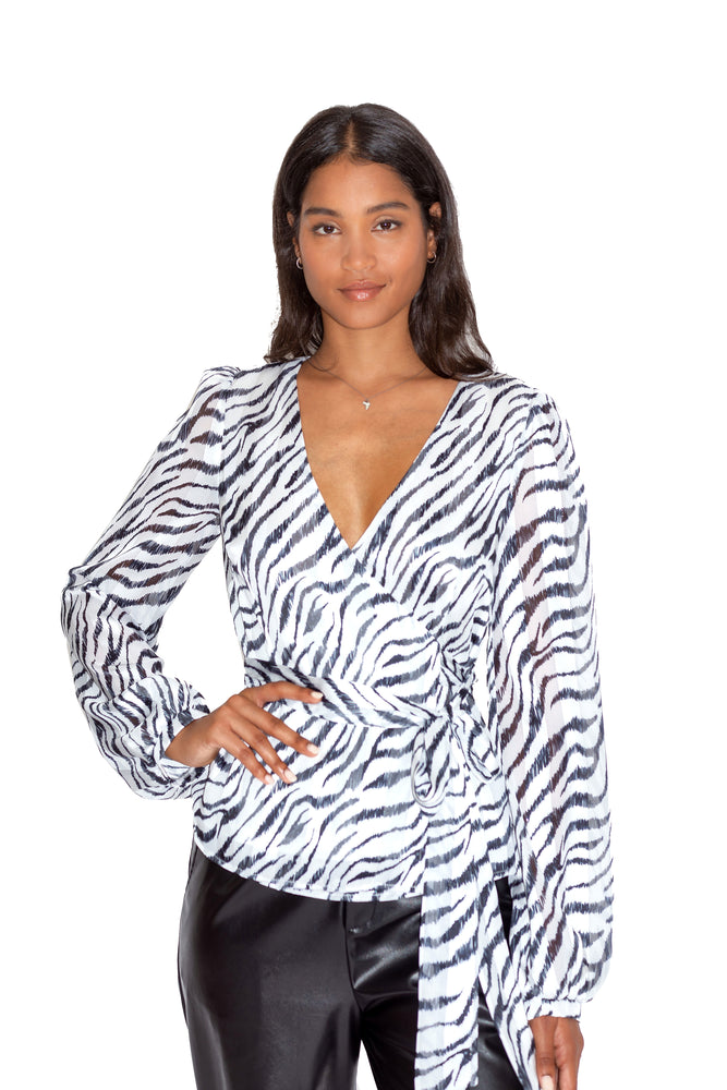 Liquorish Wrap Top in Zebra Print with Lurex