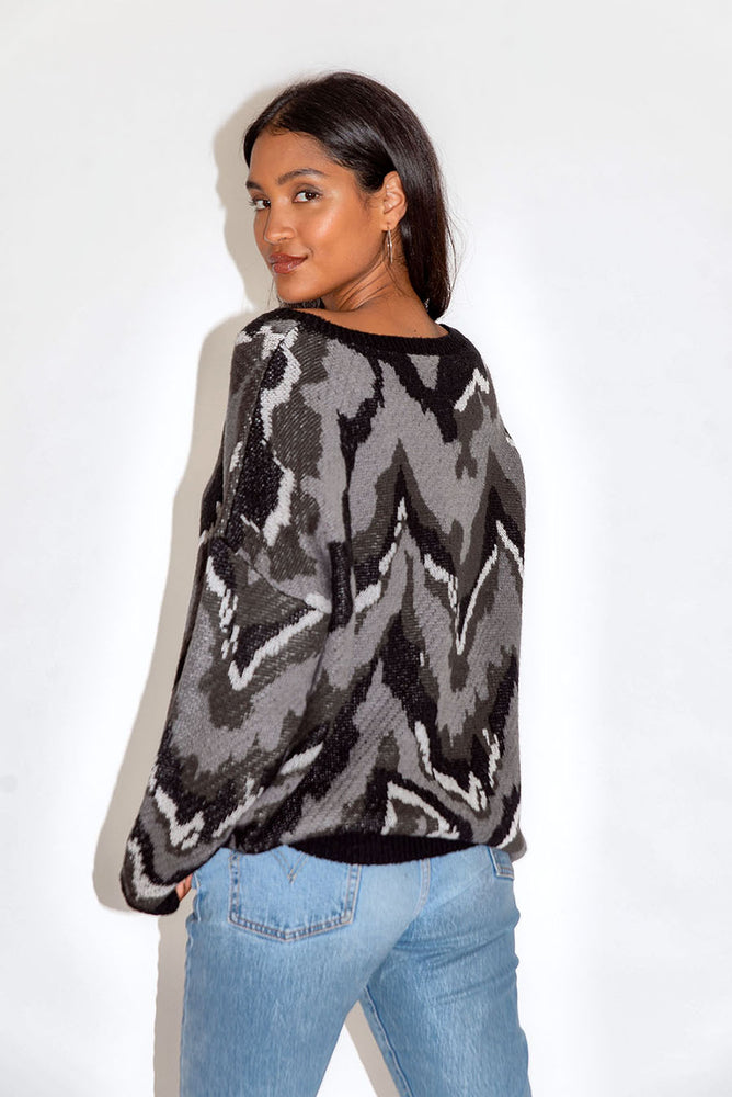 Liquorish Abstract Grey Tones Jumper