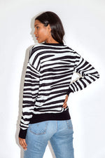 Liquorish Black & White Zebra Jumper