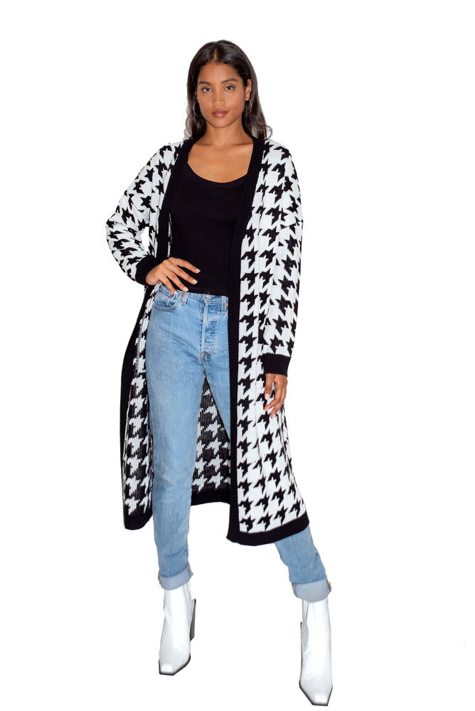 Liquorish Houndstooth Maxi Long Cardigan with Pockets