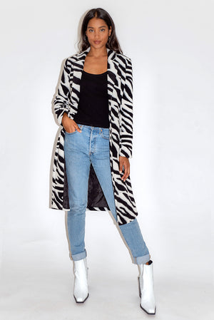 Liquorish Black and White Zebra Print Coat