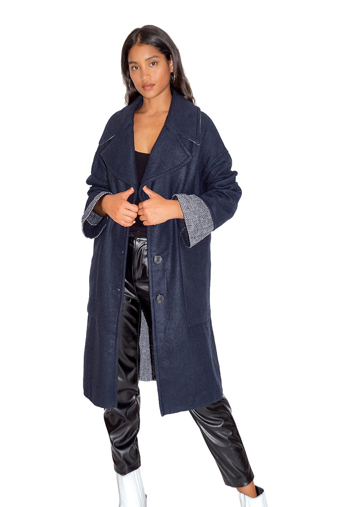 Liquorish Navy Tailored Coat