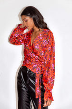 Liquorish Red Floral and Leopard Print Wrap Top