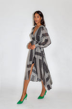 Liquorish Midi Fake Wrap Dress in Star and Polka Dot Print